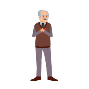 free vector Indian old man with chest pain