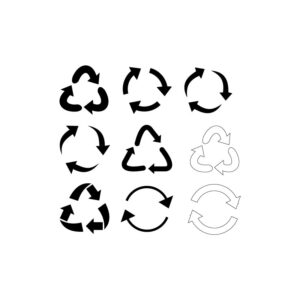 Recycle signs. Recycle arrow collection. Recycling icon set. Free Vector illustration