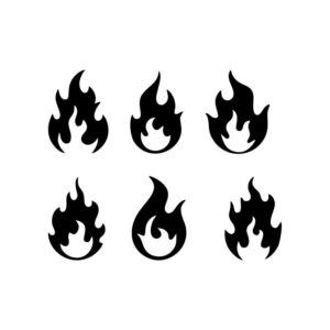 Fire flames icons collection free vector