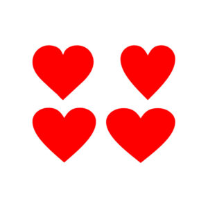 Red heart icons set on white background free vector