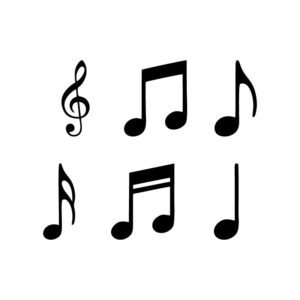 Music notes icons set. free vector