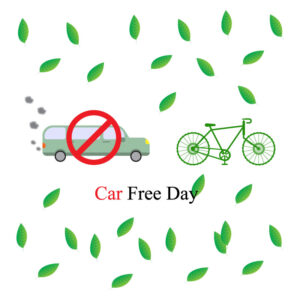 Car free day concept. September 22 Bicycle free vector