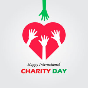 Free Vector International Charity day banner free vector concept : Diverse helping hands under International charity day banner with heart icon
