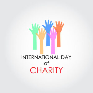 Charity Day banner vector concept frame of diverse arms raising together in solidarity free vector