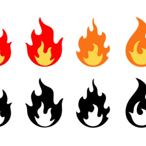 Vector illustration set of fire flames icons on white background. Flame in different shapes collection in flat style.